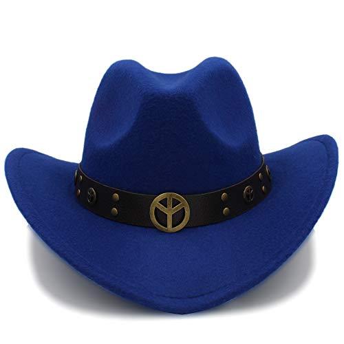 Sunhat-TX Hut - Mode-Winter-Cowboy-Hut-Wildleder-Blick Wildwest-Abendkleid-Männer-Damen-Cowgirl Unisex-Roll-up-Hut (Farbe : Blau, Größe : ()