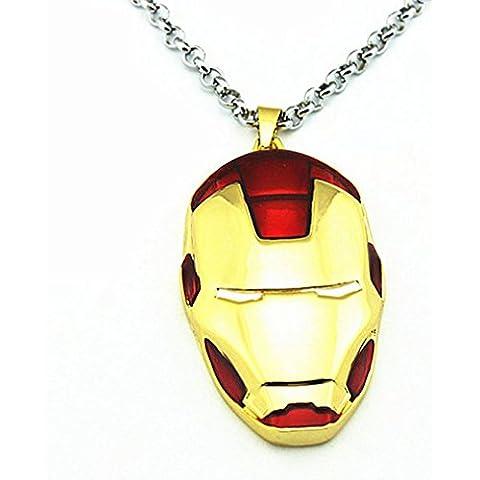 Andonger Alloy Iron Man Style Ritratto collana (oro)