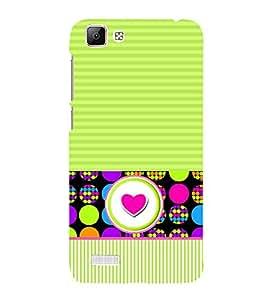 Fiobs Designer Back Case Cover for Vivo V1 (GreenLines Dots Multipattern Love)