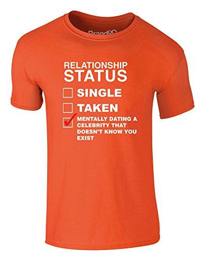 Brand88 - Mentally Dating A Celebrity..., Erwachsene Gedrucktes T-Shirt Orange/Weiß
