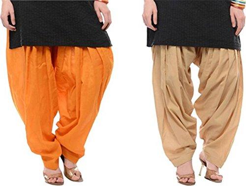 I Shop Traditional Patiala Salwar 100% Cotton Free Size (ORANGE_BEIGE)
