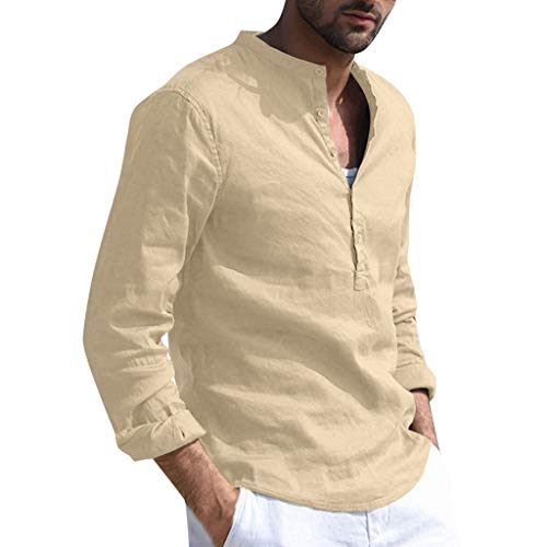 Herren Baumwoll T-Shirt Tops Lose Freizeitkleidung Einfarbig Langarm Hemdknöpfe Vintage Baumwoll Leinen Tops(XXL)