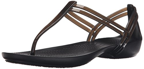 T-strap Flats Schuhe (Crocs Isabella T Strap, Damen Slip On Sandalen, Schwarz (Black), 37/38 EU)
