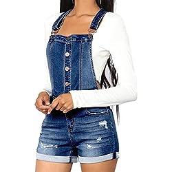 Combinaison Femme Ete,Femelles Mode Casual Bouton Camisole Solide Taille Haute D'éTé Courte Salopette(Blue, L)