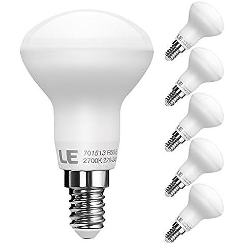 LE Pack de 5 bombillas LED reflectoras R50, casquillo E14, consumo 6W, equivalentes a bombillas incandescentes de 45W, flujo luminoso 480lm, luz blanca cálida (2700K), apertura de luz ancha 120°, luz amplia, bombillas LED R50, bombillas LED