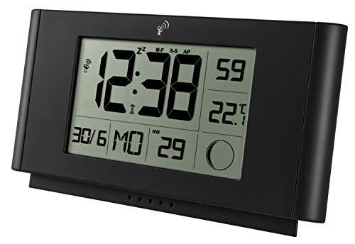 Krippl-Watches Funkwanduhr / -tischuhr mit Temperatur, Kalenderwoche, Mondphase, LAUTLOS