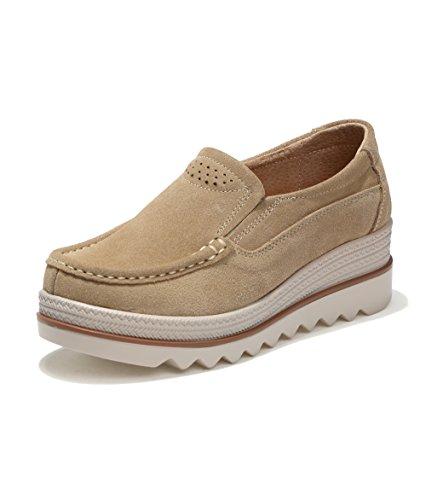 Mocassini Donna in Pelle Scamosciata Moda Comode Loafers Scarpe da Guida  Ginnastica Estivi Basse Platform Sneakers f98b1eb03b8