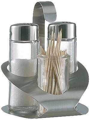 Fackelmann 55312 Stoha 4-teilig Menage mit Salz, Pfefferstreuer und Zahnstocher, topas