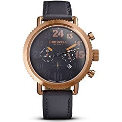 Chotovelli Vintage Pilot Men's Rose gold Chronograph Watch Black leather Strap 72.14
