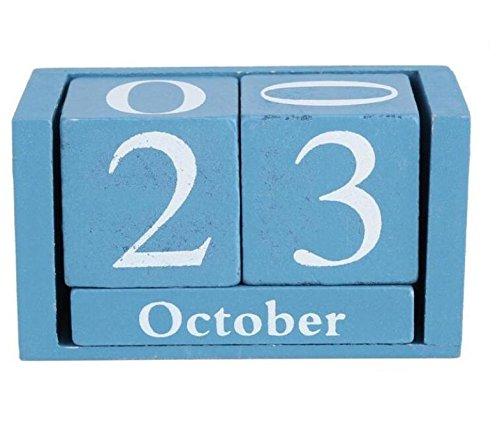 Personale Calendario in legno vintage il soggiorno decorazione Arredamento per la casa calendario pianificatore annuale (blu)