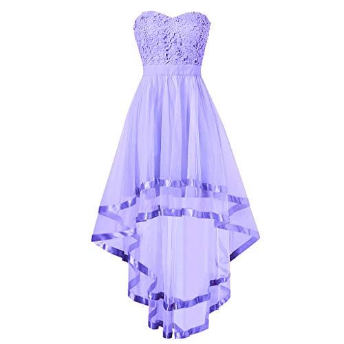 iYmitz Frauen süße Spitze ärmellose trägerlose Unregelmäßigkeit knielangen Kleid Rückenfrei Spitze Ballkleid Brautjungfernkleid (Violett,EU-42/CN-2XL