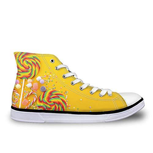 Big School Kids Sneakers (Trendy Lace Up Hi Top Canvas Sneakers Womens Ladies School Sport Trainers Pump Candy Print UK 6)