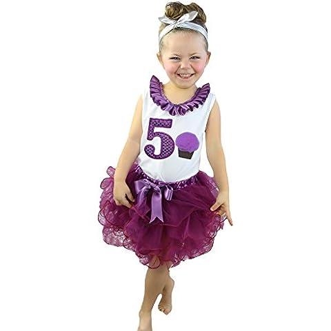 Compleanno, colore: viola 5th Cupcake maglietta vino rosso petali gonna Set Outfit Nb-8y
