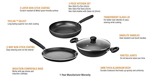 Solimo Non-Stick 3-Piece Kitchen Set (Induction & Gas compatible)