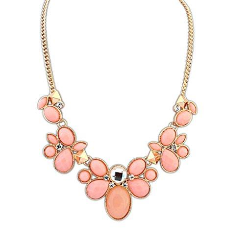 Epinki Damen Vergoldet Halskette, Damenkette Statementkette Choker Multi Form Panzerkette Rosa