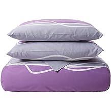 Futura Home 224669-Juego de funda nórdica poliéster y algodón, 240 x 220 cm + 2 fundas de almohada 64 x 64 cm, color morado