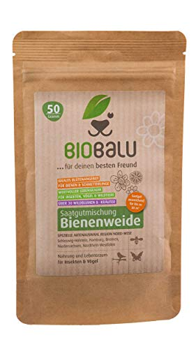 Biobalu Bienenweide Nord-West | Blumenwiese | Blüten Saatgut mehrjährig | Spezielle Artenauswahl für den Nordwesten Deutschlands 50g