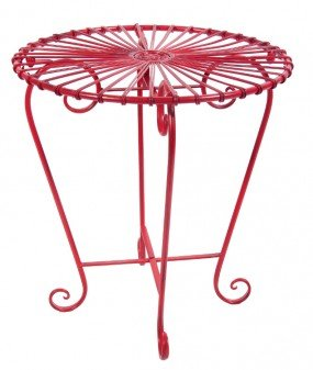 Retro Schmiedeeisen Bistro Tisch–Passende Stühle erhältlich Rot (Schmiedeeisen Patio Set)