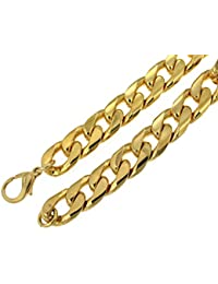 "Heavy Curb Chain Necklace Gold Doublé 10/000, Width 14.5mm/0.57"", Length choosable, directly from the italian factory"