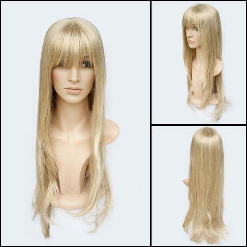Perücke Blond Glatt 60cm wie Echthaar NEU - HR-A0450 (Für Männer Weiblichen Halloween-kostüme)