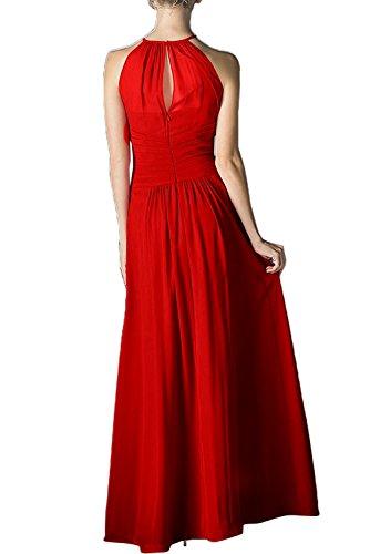 Missdressy Elegant Schön A-Linie Chiffon Partykleider Lang Abendkleider Ballkleider Cocktailkleider Lang Rot
