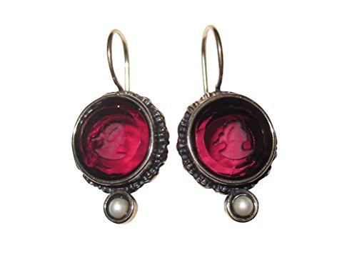 Rote Gemmen-Ohrringe Ohrhänger Glas-Gemme rund Süßwasser-Perle Haken verschließbar Bronze...