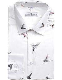 Camisa para hombre de corte clásico 100% algodón con estampado floral de cachemira, tallas