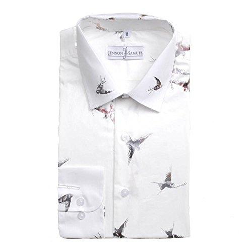 Herren Hemd, 100% Baumwolle, reguläre Passform, bedruckt mit floralem Paisley-Muster, S M L XL 2XL 3XL 4XL, Kragenweite 37–48 cm Gr. Medium, bird print (Paisley Print Shirts)