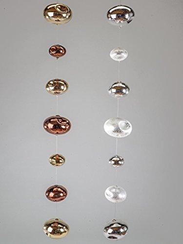 Formano Deko-Kette Deko Kette Kugel Girlande Hänger Gold-Amber oder Silber Frosty Glas 830791 830821 Winterprospekt 2014 37, Farbe:Gold