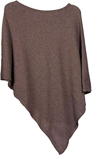 styleBREAKER weicher Feinstrick Poncho in Unifarben, Rundhals, Damen 08010042, Farbe:Braun