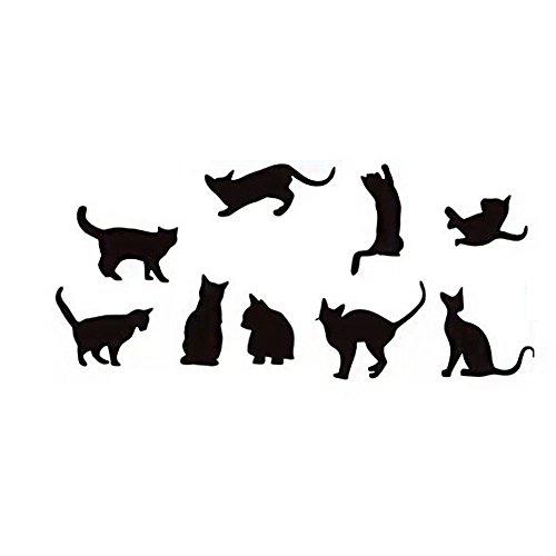 Lumanuby 1x Schwarz Katzen Wandaufkleber von 9 Cats im unterschiedlicher Silhouette Entfernbarer Wandbilder für Kinderzimmer Wohnzimmer, Wandtattoo Serie Size 26 * 150.0cm