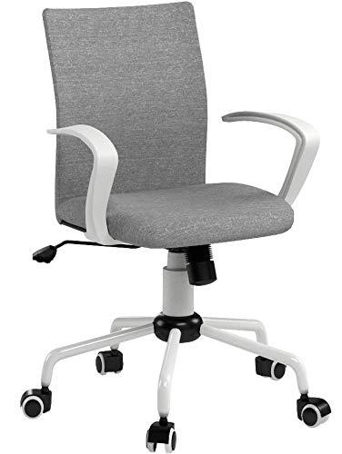 MID-back ordenador escritorio silla giratoria de comodidad oficina en casa de tela tarea silla con brazos altura ajustable con ruedas ruedas, apto para ordenador de trabajo y reunión y recepción lugar