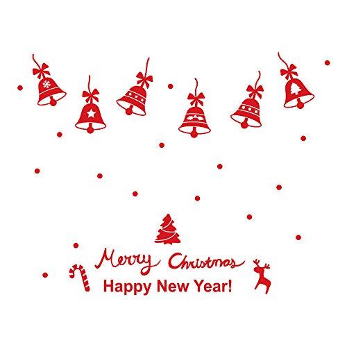 Fenverk Neujahr FröHliche Weihnachten Wand Aufkleber Zuhause GeschäFt Windows Abziehbilder Dekor Entfernbar Fenster Geschenk WeißE Farbe Dekoration Kunst Entworfen Wald Schnee Rentier(Red)