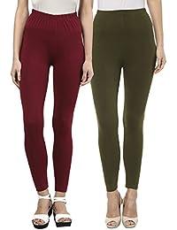 Sakhi Sang Leggings Pack of 2 : Maroon & Olive Green