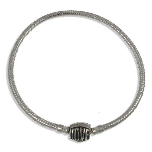 Argent sterling Perle charm Transport Bracelet avec fermoir