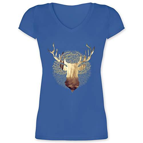 Oktoberfest Damen - Hirsch - M - Blau - XO1525 - Damen T-Shirt mit V-Ausschnitt Lv Rosen