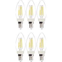 AmazonBasics Professional - LED-Leuchtmittel in Kerzenform, kleines Edison-Schraubgewinde (E14), entspricht 40-Watt-Birne, Klarglas, Glühfaden-Design, dimmbar, 6 Stück