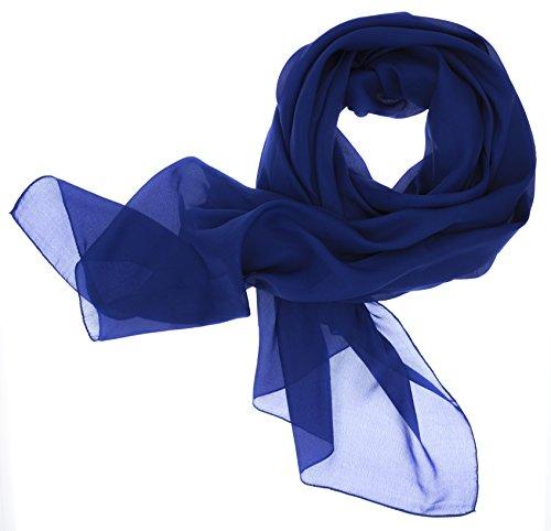 DOLCE ABBRACCIO Lady Sunshine Damen Seidenschal XXL Schal Halstuch Tuch Stola aus feinstem Chiffon mit Seide (Royalblau)