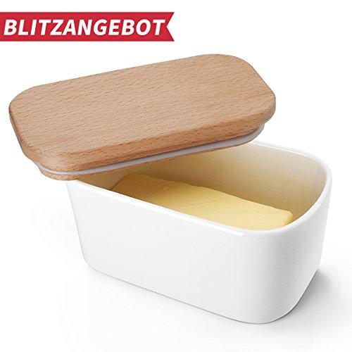 Sweese 3151 Butterdose mit Deckel, Hochwertig Porzellan und Holzdeckel mit Silikon-Dichtlippe, groß