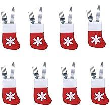 37YIMU - 8pcs Xmas Set cubertería traje decoración mesa cena platería titulares bolsillos cuchillos tenedores de vajillas bolsas de Navidad decoración de fiesta para el restaurante en casa comedor