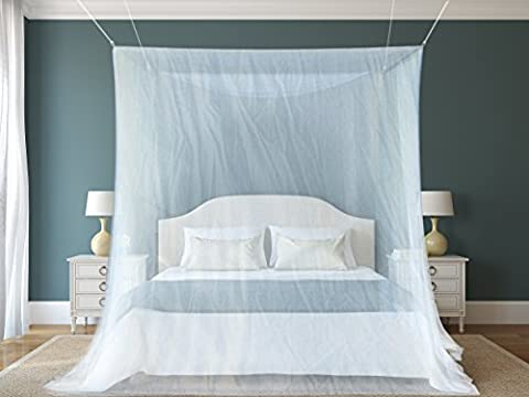 #1 The Best Mosquito Net By NATURO HOME for Double Bed Canopy   Largest Screen Netting Curtains   2 Openings   Bonuses: 2 Insect Repellent Bracelets, A Full Hanging Kit, Carry Bag +