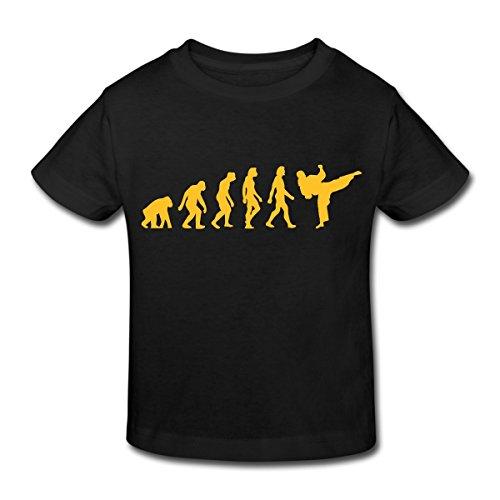 Continental Mädchen T-shirt (Spreadshirt Evolution Taekwondo Kinder Bio-T-Shirt, 122/128 (7-8 Jahre), Schwarz)
