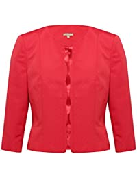 M&Co Ladies Boutique Structured Cropped Scallop Trim Open Front Ottoman Jacket