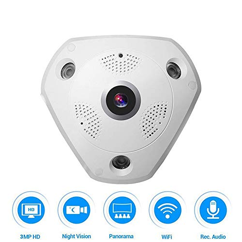 JCOJAS Babyphone VR Wireless IP Kamera 3.0MP WiFi 360 Grad Panorama Fisheye Überwachung CCTV Kamera Nachtsicht Home Security Kamera 360-grad-cctv