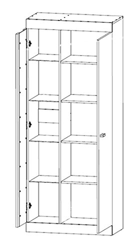 Wohnwand Anbauwand mit Glasvitrine 80cm 65116 sonoma eiche / niagara eiche - 3