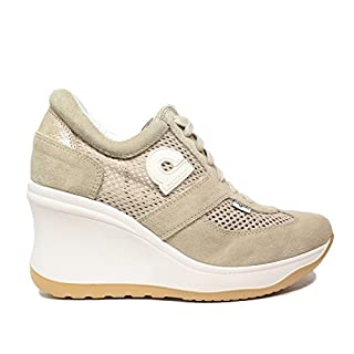 Agile by Rucoline Perforated Sneaker Woman with high Beige Wedge Chambers Article 1800 A Soft Beige New Spring Summer Collection 2018 (40)