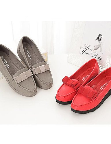 ZQ gyht Scarpe Donna Di pelle Zeppa Punta arrotondata Mocassini Casual Rosso/Grigio , gray-us8 / eu39 / uk6 / cn39 , gray-us8 / eu39 / uk6 / cn39 red-us5.5 / eu36 / uk3.5 / cn35