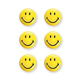 magnetoplan Smiley Magnete, Durchmesser 30 mm, 6 Stück, gelb/schwarz