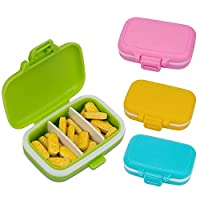 AIEX Pocket Pill Box, Waterproof Plastic Medicine Box Pill Case Pastel Pill Organizers, with 3 Removable Compartments Pill Vitamins Supplements Container for Travel and Daily Use (4 Candy Color)