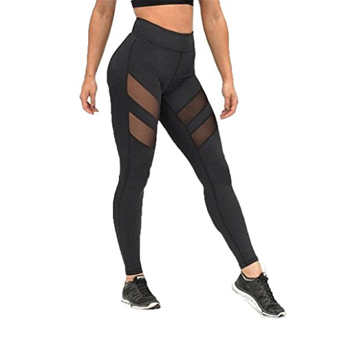 Internet Women High Waist Sexy Skinny Leggings Patchwork Mesh Push Up Yoga Pants (Black, S)